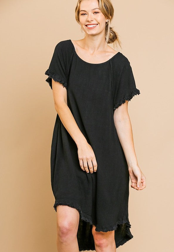 Linen Blend Fringe Dress