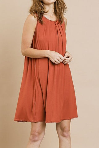 Pom Pom Trim Tank Dress