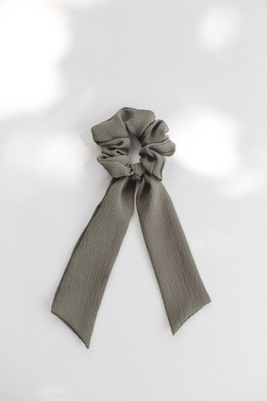 Short scarf hair tie - olive