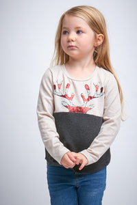 Girls Reindeer Top