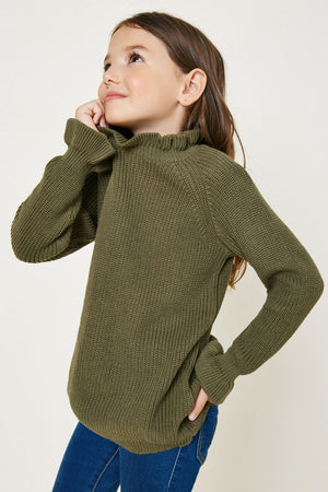 High Neck Ruffle Sweater Top