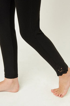 Girls Lace Trim Brushed Leggings