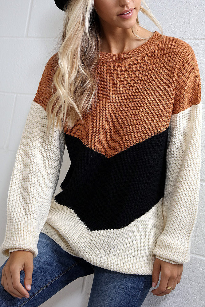 Knit Color Block Fall Sweater