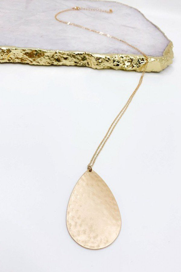 Hammered Teardrop Long Necklace