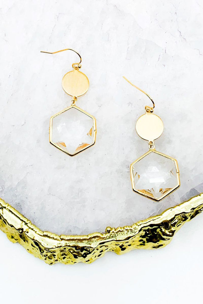 Load image into Gallery viewer, Hexagon Stone Earring
