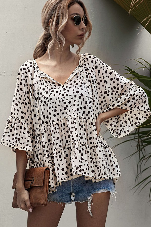 Load image into Gallery viewer, Leopard baby Doll Blouse
