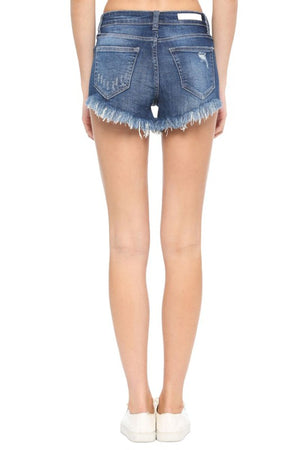 High Rise V Cut Raw Hem Destroy Shorts
