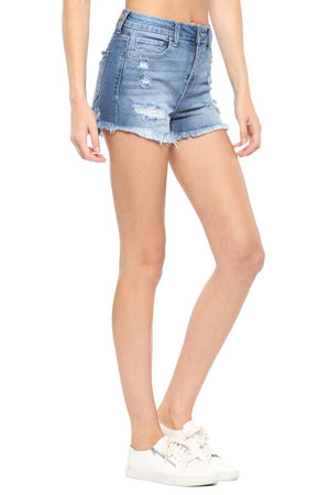 High Rise Destroy Fray Hem Shorts