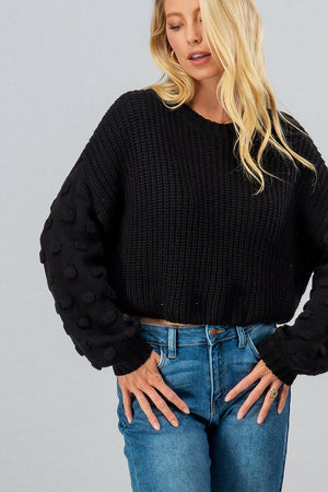 Load image into Gallery viewer, Pom Pom Crop Sweater
