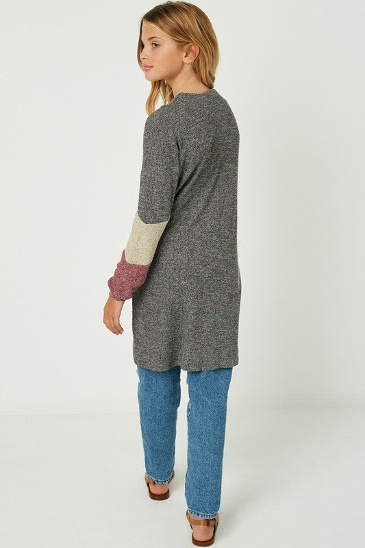 Girls Color Block Cardigan