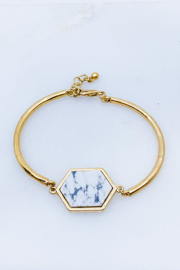 Hexagon Stone Bracelet