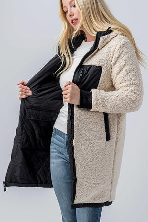 Load image into Gallery viewer, Long Sherpa Reversible Jacket