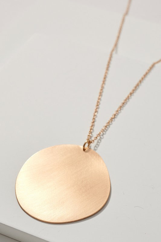 Metal Disc Pendant Long Necklace