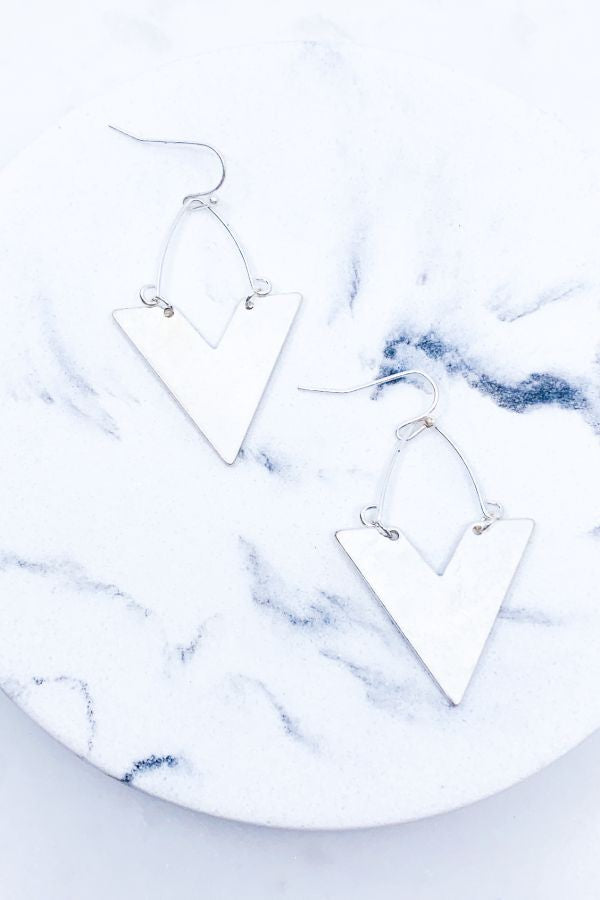 Plated Chevron Drop Earring