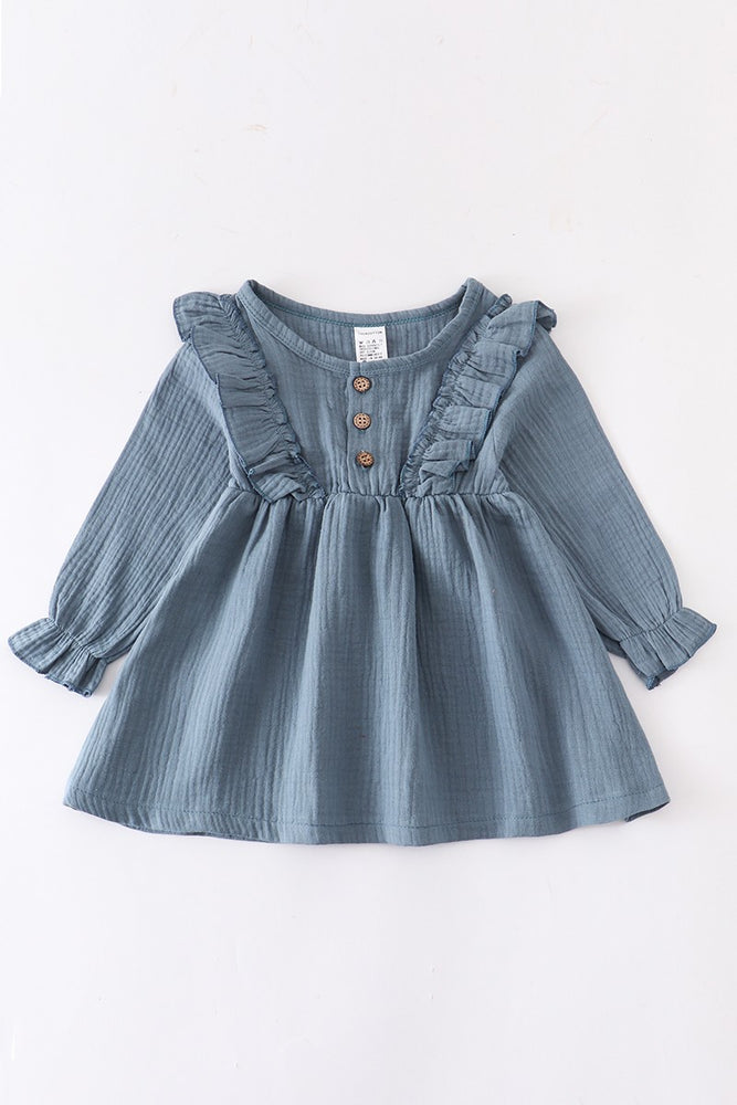 Girls Cotton Ruffle Dress