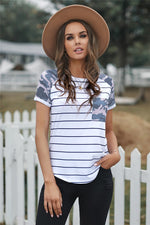 Striped Camo Pocketed Patch Tee