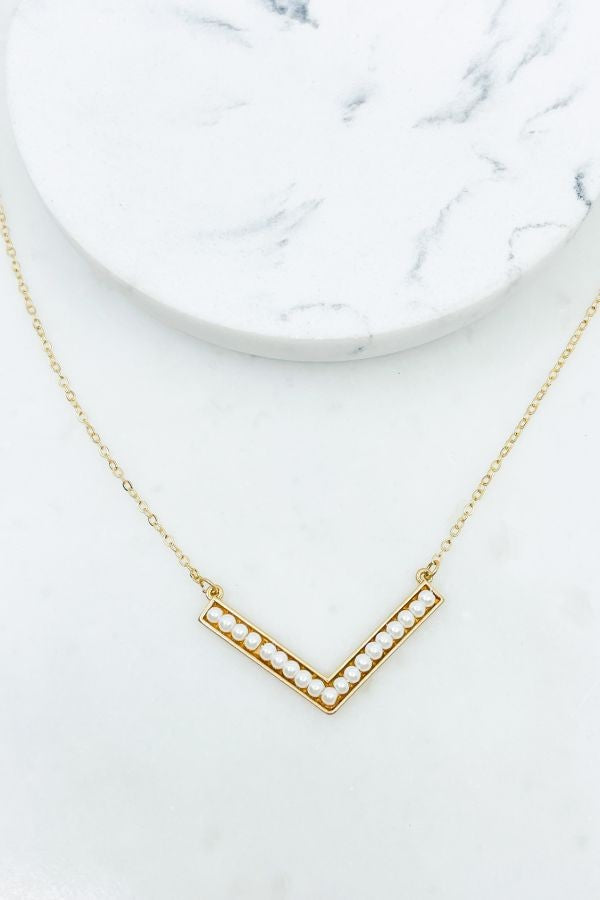 Pearl Chevron Necklace