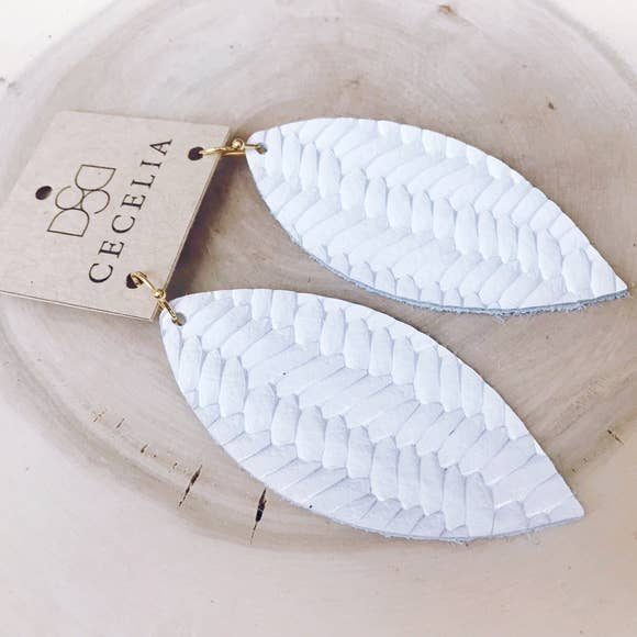 Feather Leather Earring Collection - White Braided