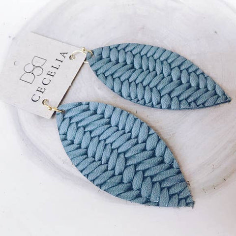 Feather Leather Earring Collection - Grey Braided