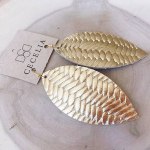 Feather Leather Earring Collection - Gold Braided