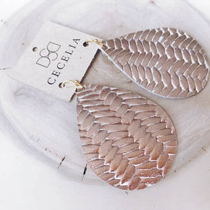 Large Leather Teardrop Earring Collection - Rose Gold