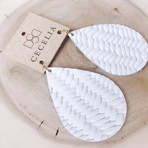 Large Leather Teardrop Earring Collection- White Braided