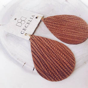 Large Leather Teardrop Earring Collection - Embossed Natural
