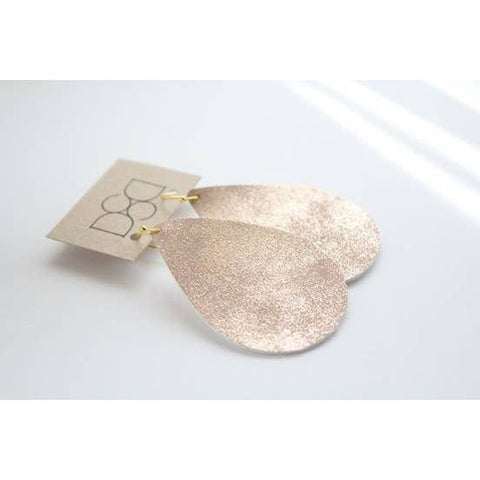 Faux Leather Teardrop Earring - Sparkling Peach