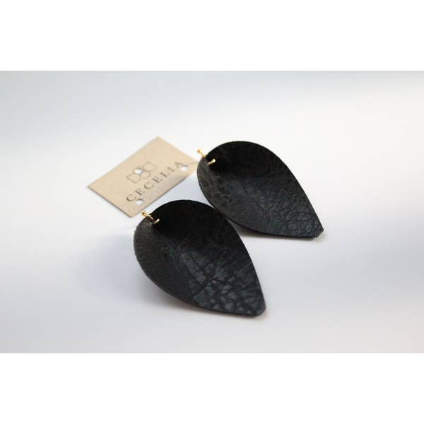 Pinched Leaf Earring - Black