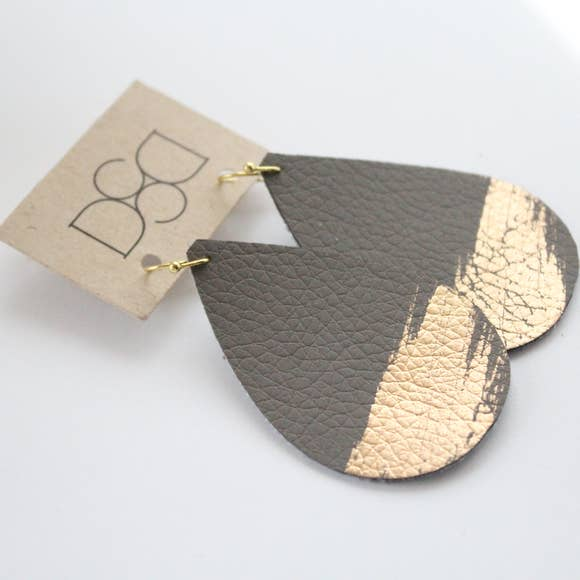 Painted Leather Earring Collection - Grey Splash