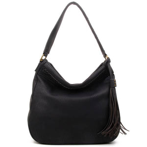 The Andi Braided Stitch Hobo - Black