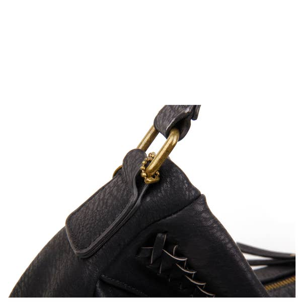 Load image into Gallery viewer, The Andi Braided Stitch Hobo - Black