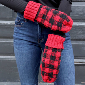 Red and black plaid mittens