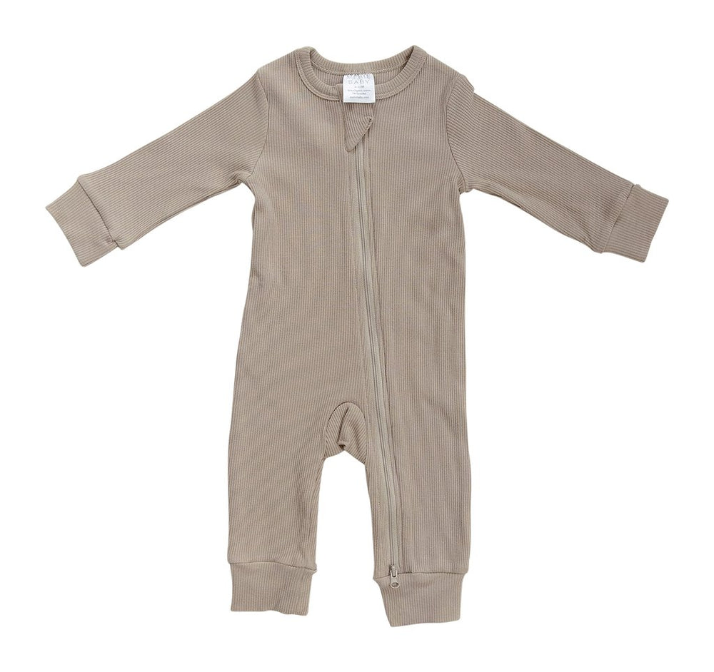 Organic Cotton Ribbed Zipper Footless One-piece