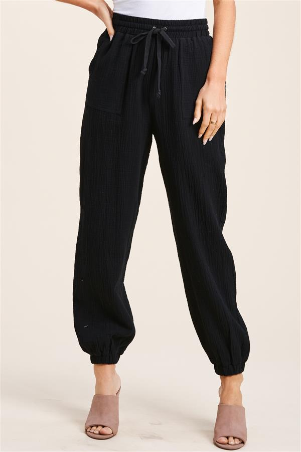 Load image into Gallery viewer, Black Gauze Pants