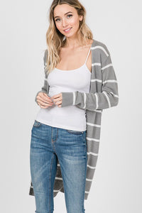 Curvy Long Stripe Open Cardigan