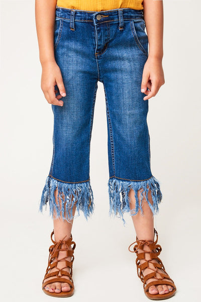 Girls Frayed Denim