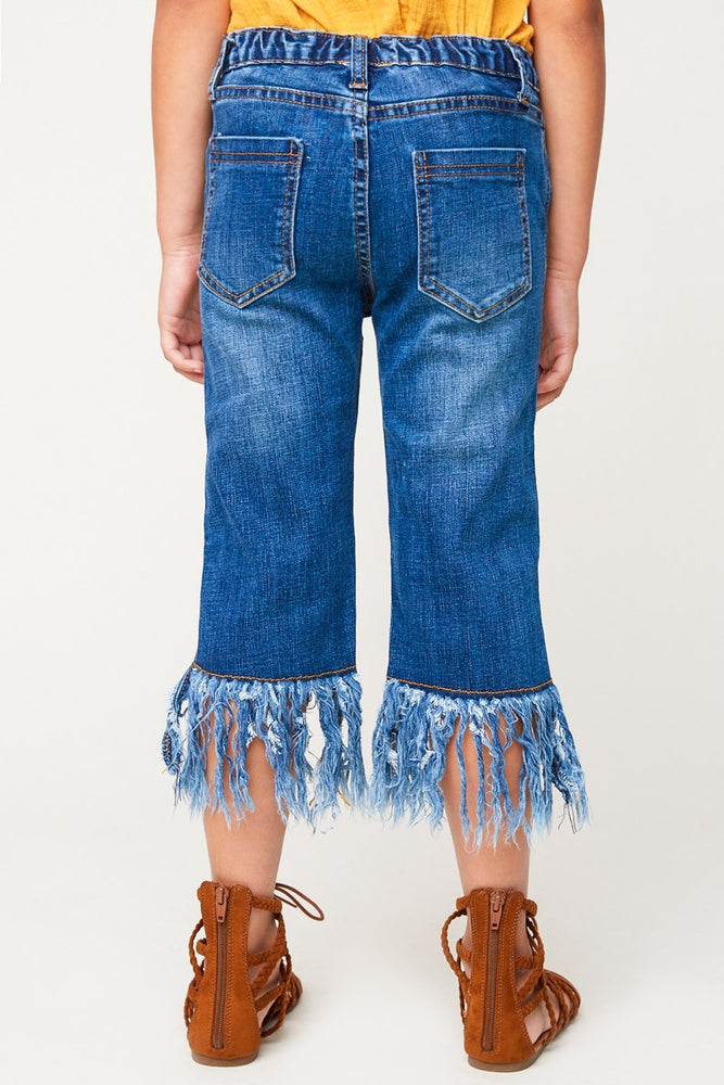 Load image into Gallery viewer, Girls Frayed Denim