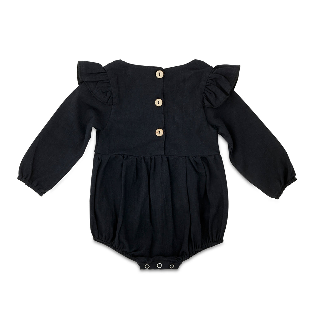 Load image into Gallery viewer, Black Flutter Sleeve Linen Baby Romper