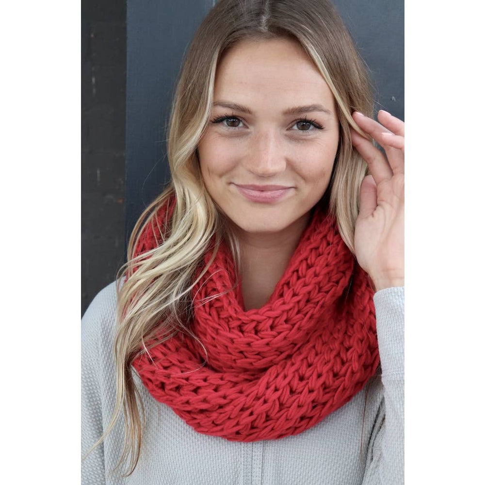 Red chunky scarf