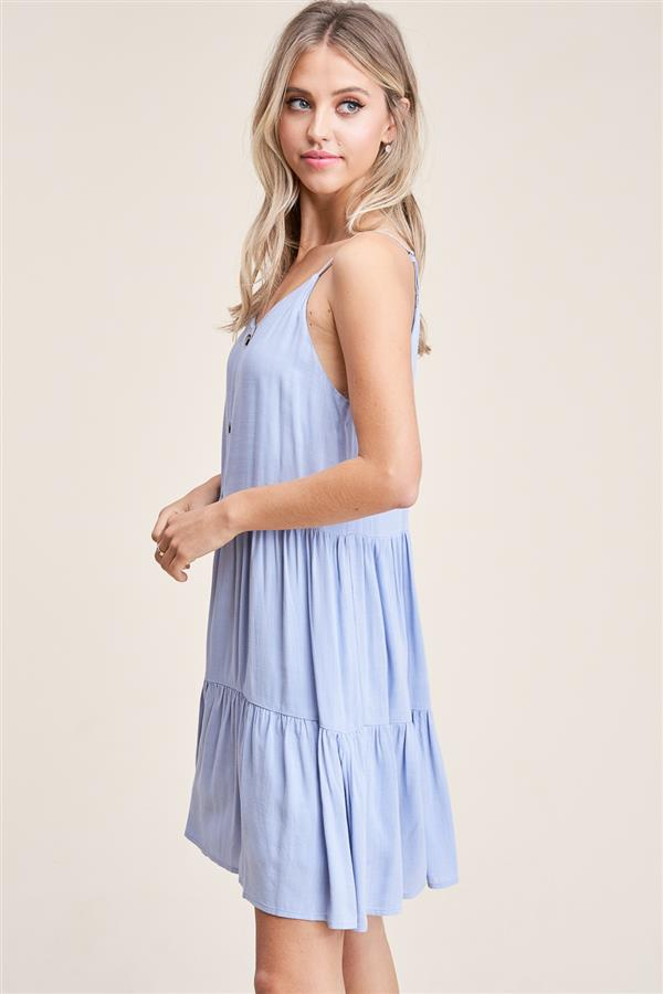 Chambray Tiered Dress