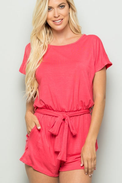 Solid Keyhole Romper - Coral