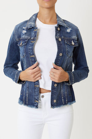 Load image into Gallery viewer, Kancan Distressed Denim Jacket