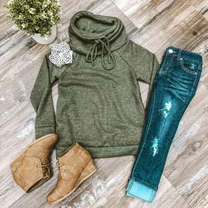 Girls Olive Cowl Neck