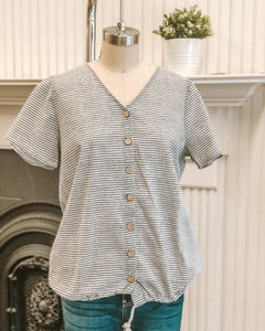 Stripe Button Down Tee
