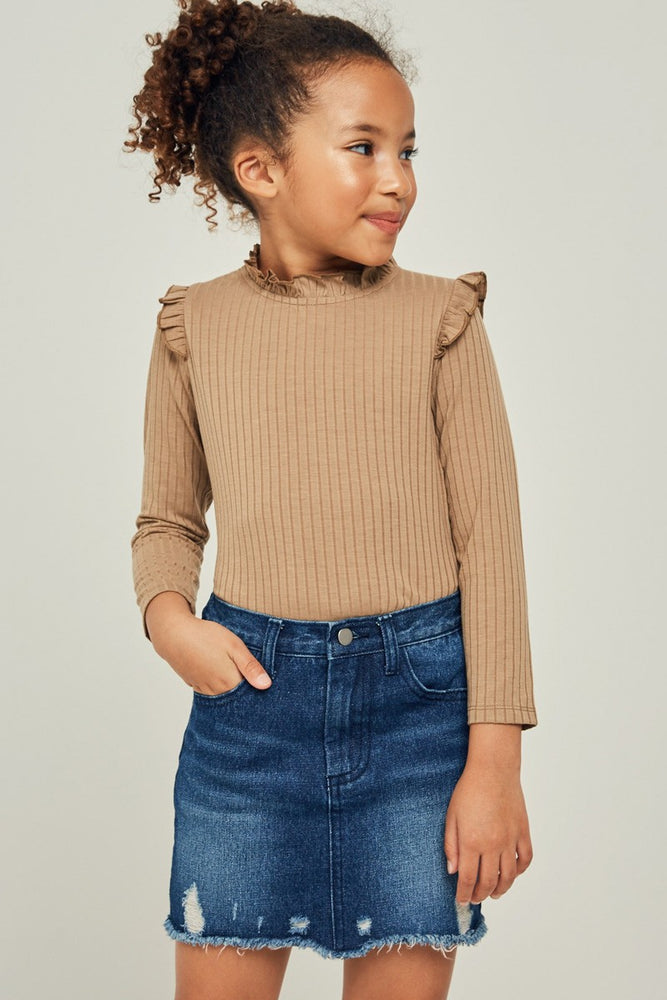 Ribbed Ruffle Mock Neck Top (PRE-ORDER)