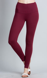 Full Length Butter Leggings - Burgundy