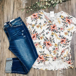 Curvy Floral Knot Top