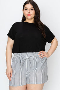 Curvy Stripe Structured Shorts
