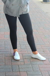 Yoga Waist Leggings - Black
